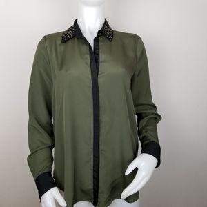 Rock & Republic M Green Studded Collar Blouse